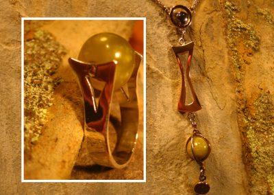Bague et collier en argent et perle de gaspéite