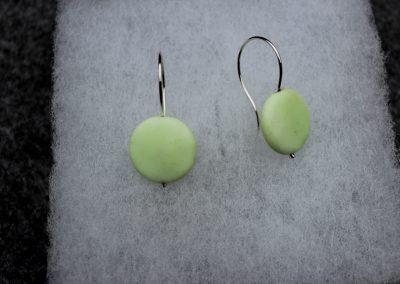 Boucles d'oreilles argent et perle de chrysoprase lemon