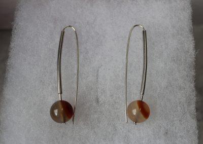 Boucles d'oreilles argent et perles de cornaline