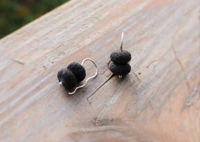Boucles d'oreilles argent et pierre de lave