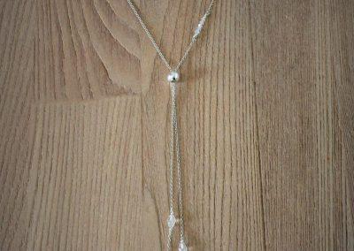 Mariage!  Collier de dos en argent et perles de cristal