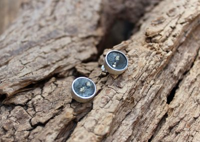 Boucles d'oreilles ardoise-pyrite